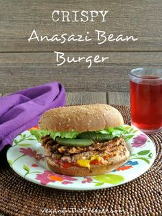 This Crispy Anasazi Bean Burger is unusual and flavorful.  A bit of a sweeter bean than the pinto and perfect for a scrumptious bean burger.  Indulge!