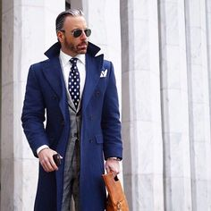 Men's Fashion: Blue trench and checkered suit