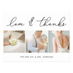 Chic Gratitude | Wedding Photo Collage Thank You Postcard - elegant gifts classic stylish gift idea diy style