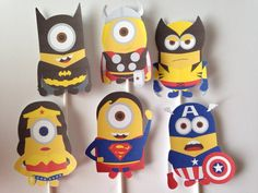 12 Superhero Character Cupcake or Table Toppers