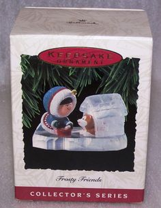 1993 Hallmark Keepsake Ornament Collector's Series Frosty Friends # 14 Box & Tag