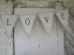 LOVE hand painted Burlap Banner Pennant Bunting by funkyshique, $28.00