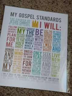 LDS My Gospel Standards via Etsy. Unavailable now but cute idea! Primary Activities, Church Activities, Activity Day Girls, Activity Days, Lds Church, Church Ideas, Lds Primary, Primary Music, Yw Handouts