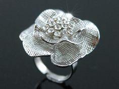 White Gold 3D Rose Flower Austrian Crystal Ring