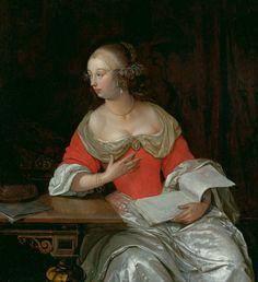 Eglon Henrik van der Neer, Noble lady on a table, 1667. Koller Auctions - Old Master Paintings