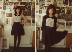 Lace collared shirt, black skirt, tights.