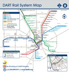 Official Map: Dallas DART Light Rail System Hot on the heels of Miami's new Orange Line comes another one: this one belonging to the Dallas Area Rapid Transit (DART) system. Dallas Map, Dallas Market, Dallas Texas, Bus Network, City Journal, System Map, Metro Map, Orange Line, Rapid Transit