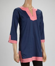 Another great find on #zulily! Pink & Navy Tunic by Top It Off #zulilyfinds