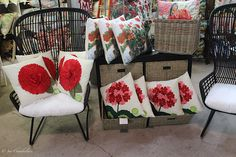 """#red embellishments #outdoor #pillows galore; #home decor #outdoor rooms ; new shipment arrived on March 7, 2016; oh, it's so delightful to check out this selection! Pillows on your porch, deck, patio, or rocker immediately create color and """"happy face"""" for everyone. Select your favorite color, and then create your theme. We have a huge selection for you at The Barn Nursery Gift Shop, Chattanooga! Exit 181 directly off I-24"""