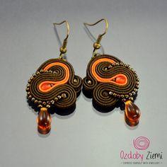 Brown Orange Soutache Earrings Small Dangle от OzdobyZiemi на Etsy