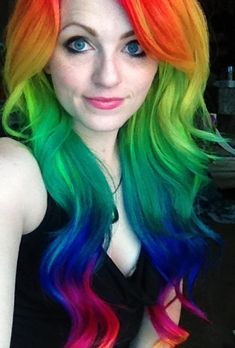 If you don't know who Ursla Goff is you should really look up her work! It's beautiful, bright colored, rainbow hair. You've gotta love her!