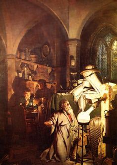 """The Alchemist Discovering Phosphorus"", by Joseph Wright of Derby. (1771) http://en.wikipedia.org/wiki/The_Alchemist_Discovering_Phosphorus"