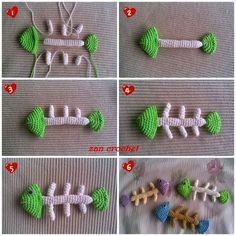 Amigurumi Fish Bone - Tutorial - fill with catnip Crochet Cat Toys, Crochet Fish, Crochet Motif, Crochet Animals, Crochet Dolls, Crochet Patterns, Bone Crafts, Yarn Crafts, Crochet Decoration