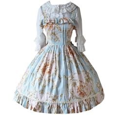 Partiss Womens Vintage Bowknots Flower Printed Sweet Classic Lolita Dress, Chinese S, Light Blue at Amazon Women's Clothing store: