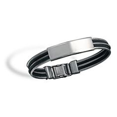 Men's Jewelry Collection : Stainless Steel Cable and Rubber ID Bracelet Mens Id Bracelets, Rubber Bracelets, Fashion Bracelets, Bangle Bracelets, Kids Jewelry, Jewelry Gifts, Jewelery, Men's Jewelry, Stainless Steel Cable