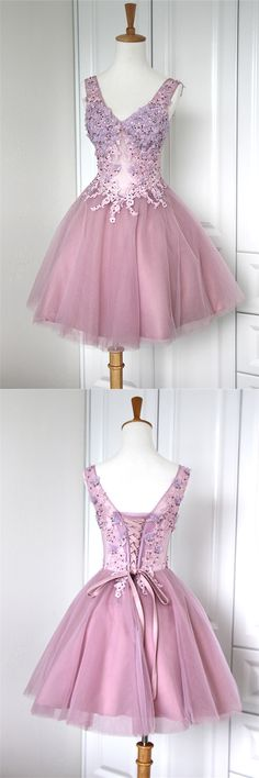 Tulle Mini V-Neck Homecoming Dresses 2015 Ruched Appliques Mini Cocktail Dresses