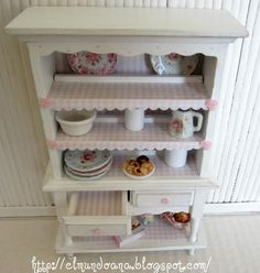 Beautiful shabby chic style cupboard for dollhouses