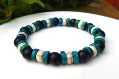 Mens Aqua and Black Bracelet – BlueStoneRiver