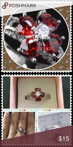 Elegant red garnet gemstone silver ring Silver plated red garnet and clear gemstone flower ring brand new in box Jewelry Earrings