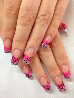 Acrylic nails with gel fade and freehand nail art