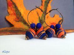 Orange and blue wool earrings  felted jewelry  hoop by liepatuja