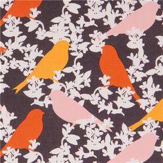 orange-grey Goldfinch bird and flower animal fabric by Michael Miller 1