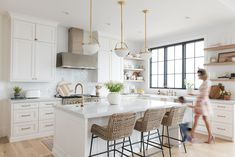 Christine Andrew from Hello Fashion shares her dream kitchen reveal, with full product and construction details, and links to recreate the look. Home Decor Kitchen, Kitchen Interior, Kitchen Dining, Kitchen Wood, Diy Kitchen, White Ikea Kitchen, Two Tone Kitchen, Kitchen Island Lighting, Cuisines Design