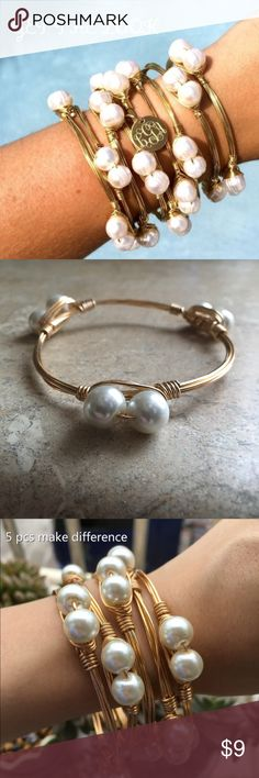 "HANDMADE WIRED BANGLE HANDMADE WIRED BANGLE WITH FAUX PEARLS 14K YELLOW GOLD OVER ALLOY METAL ONE SIZE FITS  MOST BUY 1 OR SEVERAL ""GET THAT LOOK"" BOUTIQUE Jewelry Bracelets"