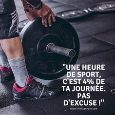 """""""Une heure de sport, c'est 4% de ta journée. Pas d'excuses !""""  Découvrez la boutique FitRace Sport ! 10% de réduction sur la première commande  #sport #training #nopainnogain #fitness #crossfit #musculation #motivation #remiseenforme #sante #rentree #volonté #fitracesport #objectif #entrainement #motivation #noexcuse #motivation Excuse Moi, Forts, Statues, Crossfit, Fitness, Gym Equipment, Boutique, Motivation, Quotes"""