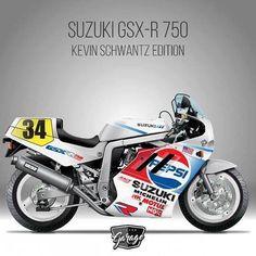 Suzuki Gsx R 750, Suzuki Bikes, Kawasaki Bikes, Gsxr 750, Kevin Schwantz, Biker Love, Japanese Motorcycle, Super Bikes, Cool Bikes