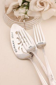 Mr. Mrs. dinner forks. Just Married Server 1957 Lady Fair  $65.00