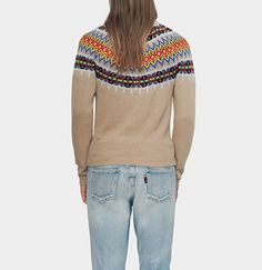 pull en tricot jacquard avec empiècement à motif
