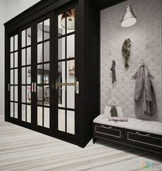 Cupboard with wee seating area at side to put shoes on Built In Cupboards, Bedroom Cupboards, Wardrobe Design Bedroom, Closet Bedroom, Wardrobe Doors, Built In Wardrobe, Door Design, House Design, Casa Loft