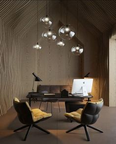 Office interior design Directorial office decorated with outstanding wood paneling covering the walls and ceiling, dark colored modern furniture with yellow upholstery and glass ball pendants in different sizes