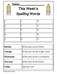 Spelling Packet/Templates for 15 Words (Homework/Center) This includes 4 nights of homework: Write 3 times each Write in ABC order Write 5 times each Write [. Spelling Word Activities, Spelling Word Practice, First Grade Spelling, Spelling Words List, Spelling Homework, Kindergarten Spelling Words, Spelling Games, First Grade Homework, Spelling Centers