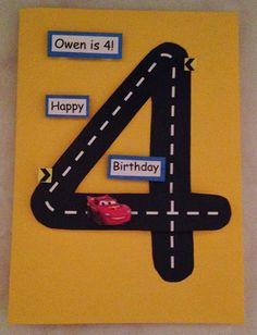 Create it with paper: Birthday card 4 Year Old Boy Birthday, Birthday Card Drawing, Happy 4th Birthday, Homemade Birthday Cards, Birthday Cards For Boys, Bday Cards, Homemade Cards, Hand Drawn Cards, Fathers Day Crafts