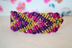 Macrame Bracelet with Arrow design and Czech crystal beads, High quality Handcrafted by AztecaHandmade on Etsy