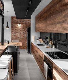 "1,679 Likes, 17 Comments - Interior And Living (@thestyleandliving) on Instagram: ""Amazing industrial kitchen . . #industrial #wood #steel #black #grey #brown #bricks #light #design…"""