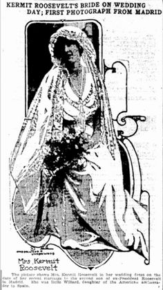 "Wedding photo of Belle Wyatt Willard Roosevelt, published in the Jackson Citizen Patriot (Jackson, Michigan), 26 June 1914, page 9. Read more on the GenealogyBank blog: ""Ancestor Weddings: Genealogy Tips for Finding the Dress."" http://blog.genealogybank.com/ancestor-weddings-genealogy-tips-for-finding-the-dress.html"
