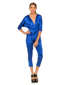 Motel Monarch V Neck Jumpsuit in Midnight Blue, TopShop, ASOS, House of Fraser, Nasty gal