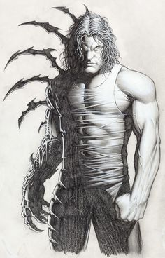 Dale Keown - Darkness Illustration Original Art (Top Cow, c. This incredibly detailed piece is very - Available at Sunday Internet Comics Auction. Comic Books Art, Comic Art, Sun Ken Rock, Animated Man, Top Cow, Vision Quest, Batman Wallpaper, Black White Art, Image Comics