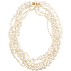 Freshwater and faux pearl multi strand necklace ($595) ❤ liked on Polyvore