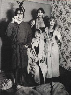 The cast of the Rocky Horror Picture Show take a coffee break during filming the pool scene..