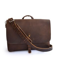 A beautifully handmade full-grain leather bag for your notebook, tablet, and other everyday gear. Mens Leather Satchel, Leather Briefcase, Leather Men, Leather Backpack, Leather Wallet, Leather Bags, Leather Suitcase, Tote Backpack, Messenger Bags