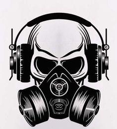 Random late night post of a #skull wearing a #gasmask