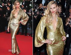 Natasha Poly In Michael Kors - 'The Sea Of Trees' Cannes Film Festival Premiere - Red Carpet Fashion Awards Gold Gown, Gold Dress, Celebrity Red Carpet, Celebrity Style, Star Fashion, High Fashion, Fashion Trends, Natasha Poly, Nice Dresses