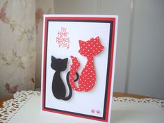 cat valentine's day card, happy valentine's day card, cat card, black cat card, cool cats card, thinking of you card, i love you card by PointingDogPaper on Etsy