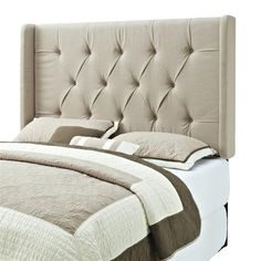 Taupe Wood Fabric Tufted Full/Queen Wing Headboard-4/6-5/0