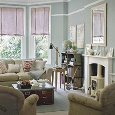 Lounge idea. Like the colours and the shelves