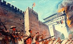 Siege of Peking, Boxer Rebellion American troops scale the walls of Peking American War, American History, American Soldiers, Boxers, Kung Fu, Der Boxer, Joining The Marines, Boxer Rebellion, Christian Missionary